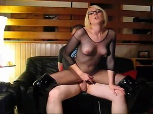 cd girls strapon black leather couch
