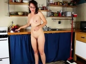 girl stripping naked in kitchen