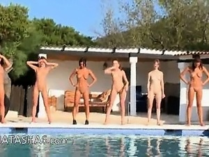 Naked girls in a pool