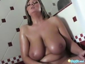 girl gives boyfriend blowjob in bathroom