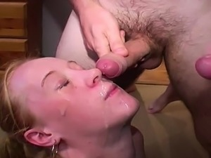 hot blonde girl fucked and bukkaked