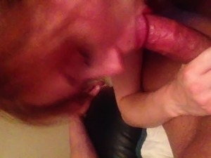 Spit cum in his mouth