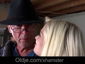 old man fucks young blonde