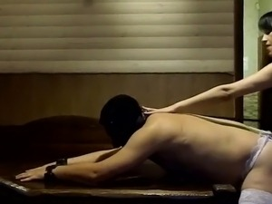 Nude girl in sauna