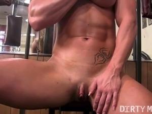 Lesbian sex in gym