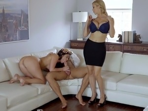 mom helps daughter lick her pussy