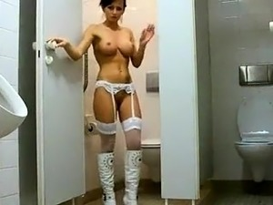 Naked girls on toilet