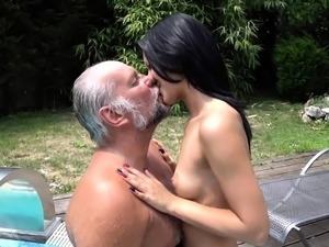 naked old man with young girl