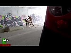 girls peeing on the street video